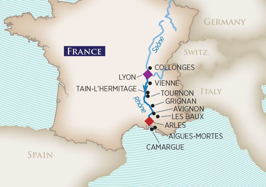 Colors of Provence Wine Cruise Map