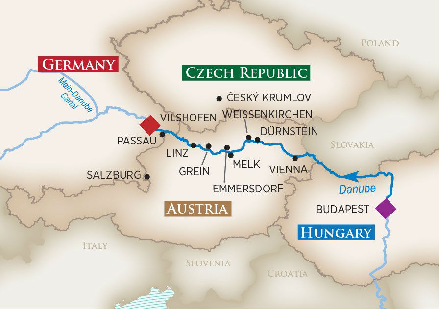 Melodies of the Danube Wine Cruise Map