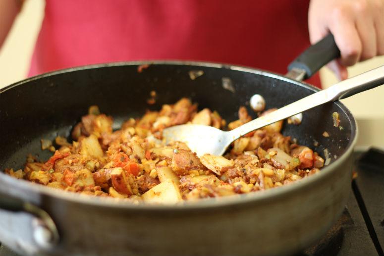 Breakfast Potato and Longaniza Tacos
