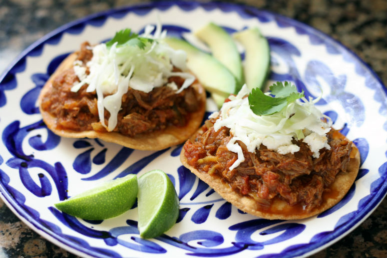 Tostadas de Tinga de Res by Ceja Vineyards