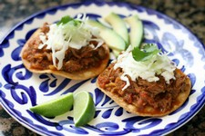 Tostadas de Tinga de Res (Shredded Sirloin Tip Steak Tostadas)